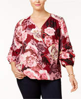 INC International Concepts I.n.c. Plus Size Floral-Print Surplice Blouse, Created for Macy's