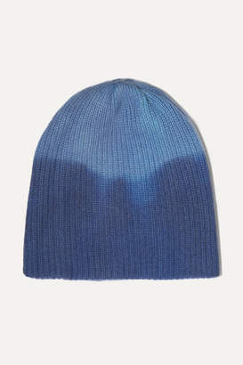 The Elder Statesman Watchman Ribbed Tie-dyed Cashmere Beanie - Blue