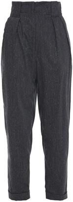 IRO Cropped Pinstriped Wool And Silk-blend Twill Tapered Pants