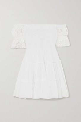 Charo Ruiz Ibiza Nancy Off-the-shoulder Crocheted Lace-paneled Cotton-voile Mini Dress - White