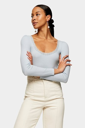 Topshop Blue Long Sleeve Lace T-Shirt