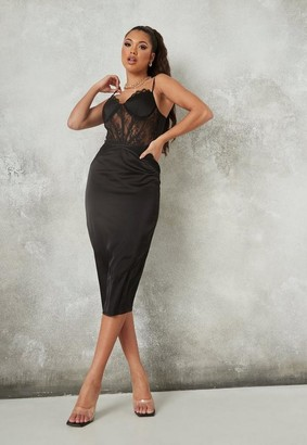 Missguided Black Satin Lace Insert Corset Midaxi Dress