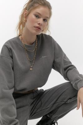 Iets Frans... iets frans. Bubble Hem Crew Neck Charcoal Sweatshirt - Grey XS at Urban Outfitters