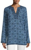 MICHAEL Michael Kors Miura Printed Long-Sleeve Tunic, New Navy