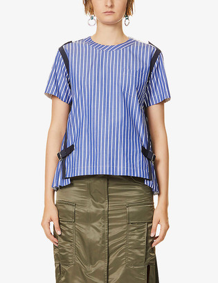 Sacai Striped pleated cotton-poplin T-shirt