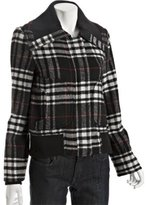 black wool blend plaid zip bomber jacket