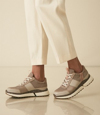 Reiss Ethan - Leather Trainers in Taupe