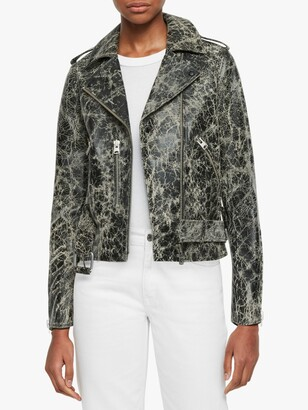 AllSaints Balfern Rift Leather Biker Jacket, Black/White