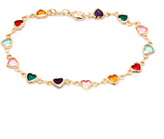 Sweet & Soft Gold & Black Heart Bracelet With Swarovski® Crystals