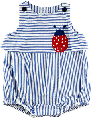 Florence Eiseman Girl's Striped Ladybug Striped Bubble Romper, 3-24 Months