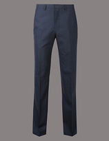 Autograph Navy Tailored Fit Wool Trousers