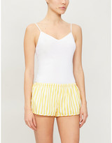 Les Girls Les Boys Striped cotton-poplin pyjama shorts