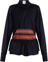 Stella Jean Embroidered-cummerband stretch-cotton top