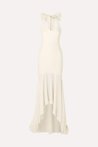 Rebecca Vallance Claudette Bow-detailed Stretch-crepe Gown - Ivory