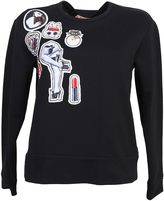 N°21 Black Cotton Sweater With Crystals Embellished Patches