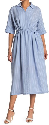 MelloDay Short Sleeve V-Neck Elastic Waist Midi Dress