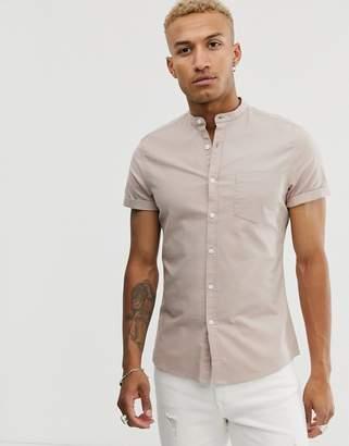 Asos Design DESIGN slim fit casual oxford shirt in light brown with grandad collar