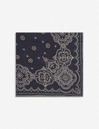 Eleventy Bandana-print wool-blend pocket square