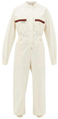 Gucci Le Rose Di Eliogabalo Web-stripe Cotton Jumpsuit - Womens - Ivory Multi