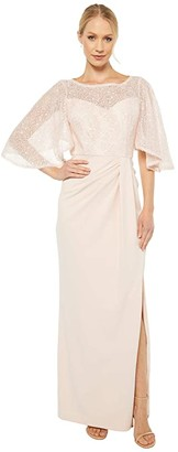 Adrianna Papell Flutter Sleeve Gown (Light Blush) Women's Dress