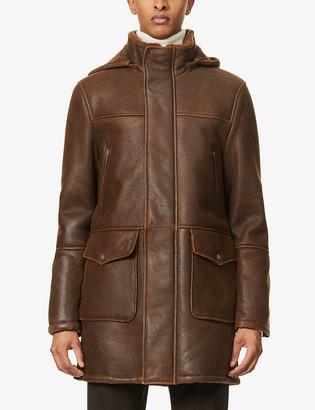 Eleventy Shearling-lined leather duffel coat