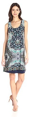 Notations Women's Placement Print Sleeveless Dress with Criss Cross Back Strap