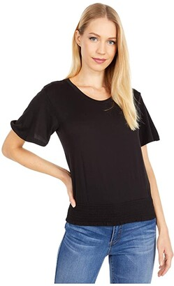 MICHAEL Michael Kors Smock Waist Flutter Sleeve Top (Black) Women's Clothing