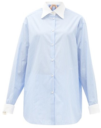 No.21 No. 21 - Embellished-cuff Pinstriped Cotton Shirt - Womens - Blue White