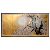 Oriental Furniture Asian Art and Home Decor 6-Feet Long Japanese Style Gold Leaf Folding Wall Screen, Sakura Blossom, 72-Inch L by 36-Inch T