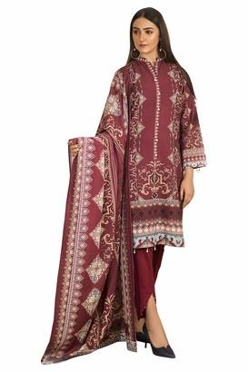 Khas Stores Pakistani Dress KHADDAR Printed Casual WEAR Kameez Shalwar Dupatta RED Extra Large