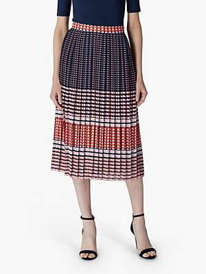 Jaeger Geometric Pleated Skirt, Red/Multi