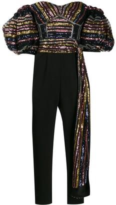 Self-Portrait puff sleeved sequin jumpsuit