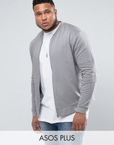 Asos Plus Jersey Bomber Jacket In Grey With Embroidery