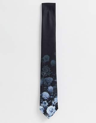 Twisted Tailor tie with faded floral print in navy