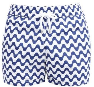 Frescobol Carioca Sidewalk Wave-print Swim Shorts - Mens - Navy