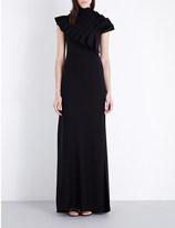 Osman Asymmetric wool-blend gown