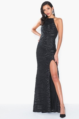 Honor Gold Harley Black Sequin Backless Maxi Dress With Split