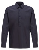 HUGO BOSS - Relaxed Fit Shirt In Cotton With Half Placket - Dark Blue