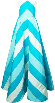 Carolina Herrera Striped Strapless Gown