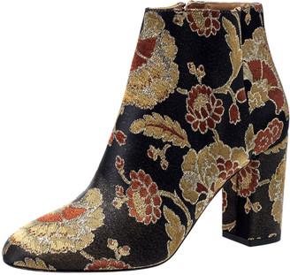 Aquazzura Multicolor Brocade Fabric Ankle Booties Size 38