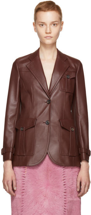 Prada Burgundy Leather Jacket
