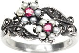 Dahlia Gemini Silver Seed Pearl Ring, Ruby (Size 6 Vintage Collection