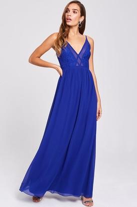 Little Mistress Sian Cobalt Lace Bodice Maxi Dress