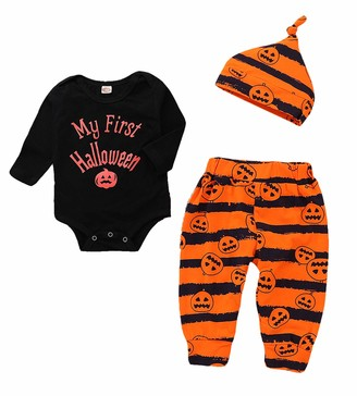Hifunbay Kids Baby Boy Girl First Halloween Pumpkin Hoodie Outfits Long Sleeve Romper 3PCS with Cute Hat for Party (01 12-18 Months)