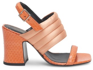 Dries Van Noten Quilted Satin & Snakeskin-Embossed Leather Slingback Sandals
