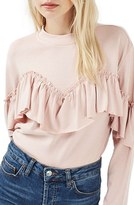 Topshop Women's Ruffle Jersey Sweatshirt