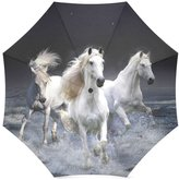 Horse Umbrella Hot Sale Wild Black Running Horse in the Water Foldable Umbrella Compact Umbrella