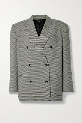 Magda Butrym Oversized Double-breasted Houndstooth Wool-blend Blazer - Black