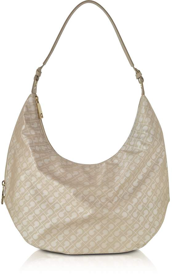 Gherardini Clay Signature Fabric and Leather Softy Shoulder Bag