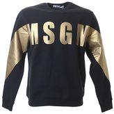 MSGM Printed Logo Black Cotton Sweater